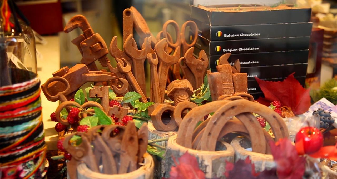 Chokladstaden Brügge i Belgien