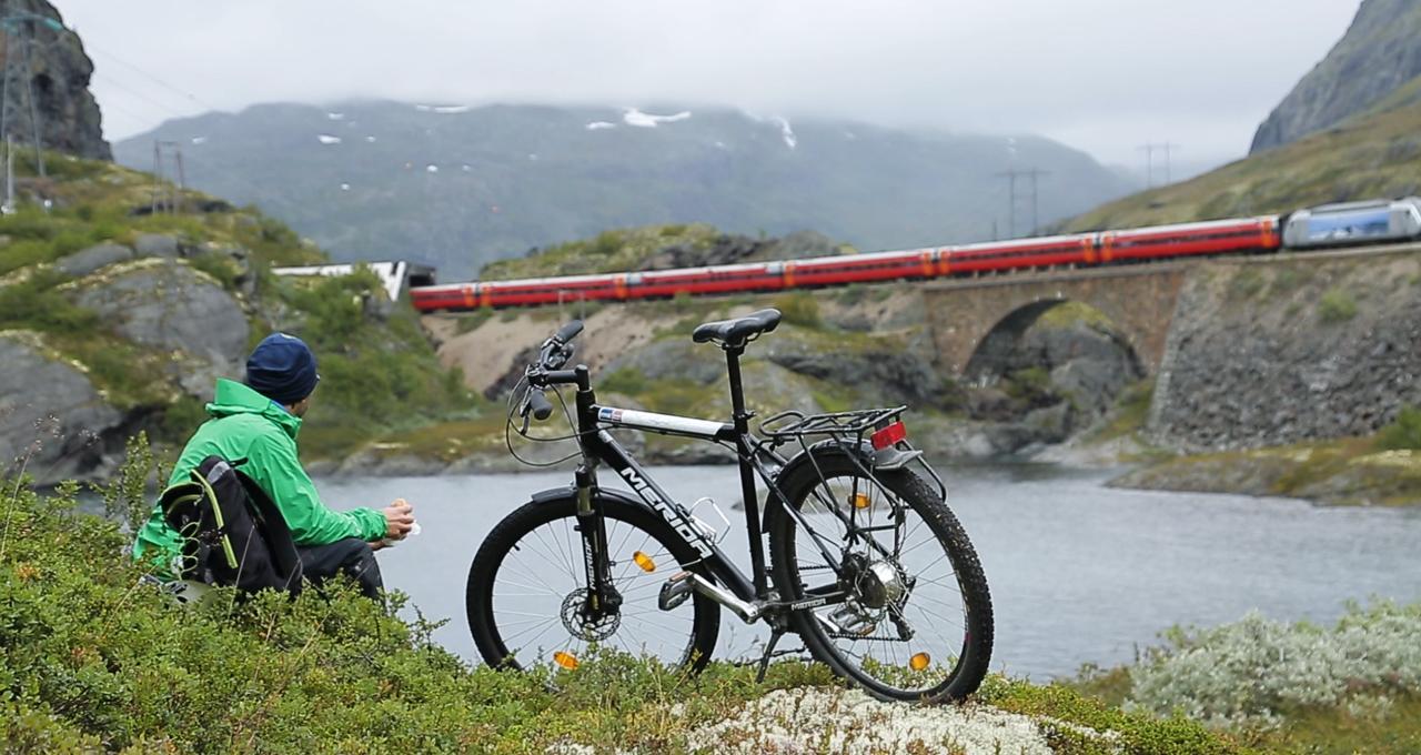 På rätt spår i Norge, fika med cykel vid tåget